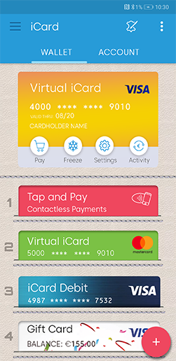 Virtual cards feature screen